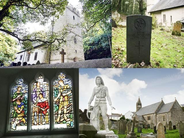 Oxwich, St Illtyd's Church (top) Port Eynon, St Cattwg's Church (below)