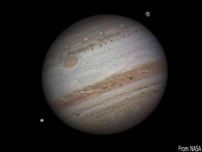 Jupiter and its moons Io and Ganymede