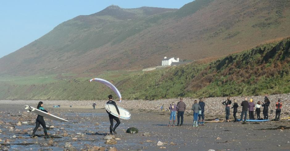 Rhossili Beach  Surfer Paraglider
